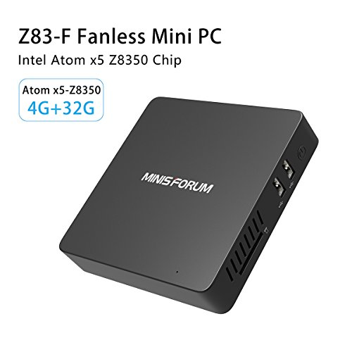 Z83-F Fanless Intel Windows 10 Mini PC Intel Atom x5-Z8350 Desktop, Graphics 400, RAM DDR3L 4GB and ROM 32GB 4K, Ultra HD 1000Mbps Lan 2.4G/5.8G WiFi and Dual Screen Display BT 4.0