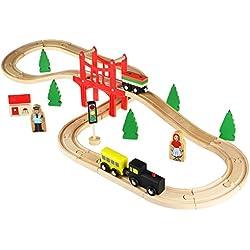 ACOOLTOY Juego de Tren de Madera,Juego de Mesa con Circuito para Trenes del Bebé de los Niños
