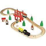 immagine prodotto Ferrovia con trenino di legno ACOOLTOY, 37 Pezzi