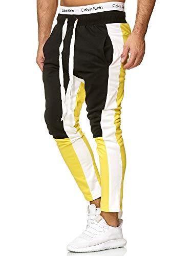 OneRedox Herren | Jogginghose | Trainingshose | Sport Fitness | Gym | Training | Slim Fit | Sweatpants Streifen | Jogging-Hose | Stripe Pants | Modell A10 (L, Gelb) -