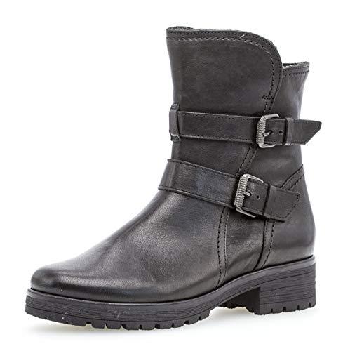 Gabor Damen Biker Boots 92.093,Frauen Stiefel,Stiefelette,Halbstiefel,Bikerstiefelette,Bootie,Hoch,Blockabsatz 2.5cm,Einlegesohle,G Weite (Normal),Schwarz (Mel.),UK 6