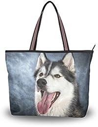 e57f742f37194 ALAZA Tote Umhängetasche Husky-Hund und Vintage Schwarzer Hintergrund  Handtasche Große