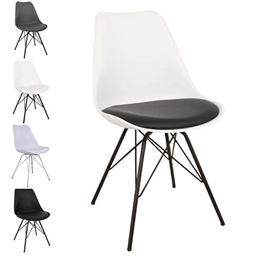 Nimara Comfort Stuhl in skandinavischem Design | Esszimmerstühle und Küchenstühle | Stühle in Schwarz, Weiß, Grau und Mehreren Farben | Sitzkissen Stuhl | Retro Stuhl (Weiß/Schwarz) -