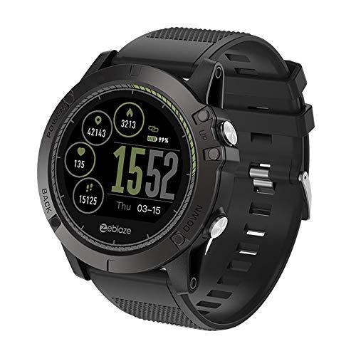 TianranRT Zeblaze VIBE 3 HR Smart Uhr Telefon Sport Männer Smartwatch FOR iOS/Android (Schwarz) - Französisch-kalb-leder