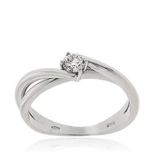 Gioiello Italiano - Solitario in oro bianco 18kt con diamante (0.25 Ct Anello Di Fidanzamento Anello Di Fidanzamento)