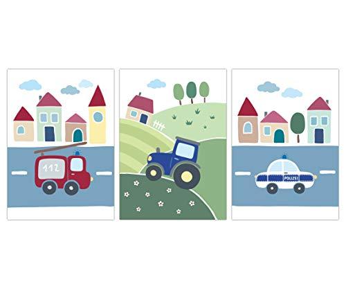 Lalelu-Prints Kinderzimmer Poster 3er Set DIN A4 I Kinderzimmer Deko Mädchen Junge I Wandgestaltung Wanddekoration Wandbilder (Feuerwehr Traktor Polizei)