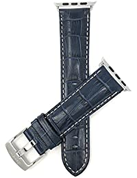 Bandini Replacement Watch Band for Apple Watch 42mm, Blue, Extra Long (XL), Mens' Alligator Style Leather, White Stitching, Glossy, Fits Series 1, 2, 3 and 4