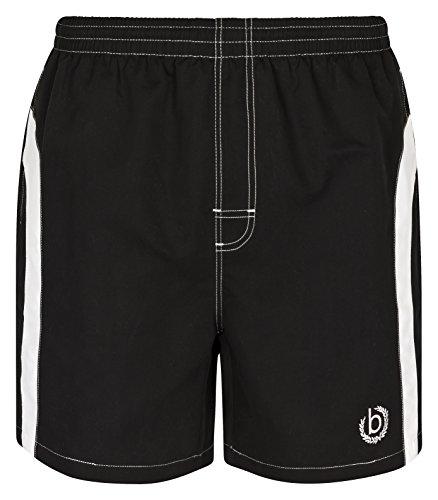 Bugatti® - Moderne Herren Badeshort, schwarz mit weißen Streifen, in Größe S