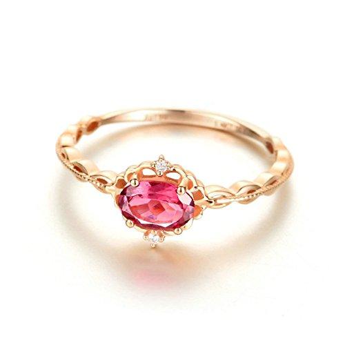 KNSAM - Damen-Ring 18K Gold Solitärring Rubin Echt Diamant 0.5 Karat Verlobungsringe Eheringe für Frauen Größe 56 (17.8)