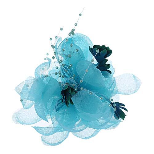Kofun Haarklammer, Womens Bridal Lace Blume Haarspange Volltonfarbe Faux Kristall Perlen Party Brosche Himmelblau -