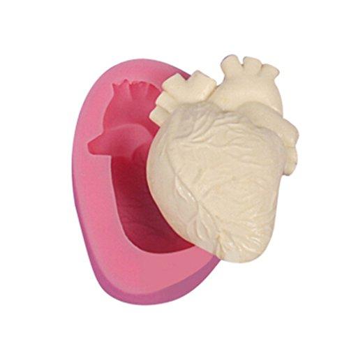 LnLyin Halloween 3D Menschliche Herz Struktur Kuchen Silikon Form Mondkuchen Zucker Fondant Schokolade Formen Backform Seife Dekorieren Formen (Silikon Kuchen Herz Form)