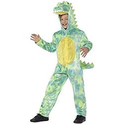 Smiffy's Smiffys-48353L Disfraz de Dinosaurio Deluxe, Mono con Capucha Color Verde L - Edad 10-12 años 48353L