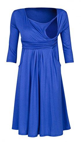 Happy Mama. Donna Vestito prémaman per l'allattamento Abito con tasche. 848p Blu Royal