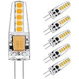 Ascher 5er Pack G4 2W LED Lampen, 10X 2835SMD, 220LM, Ersatz für 20W Halogenlampen,12V AC / DC, Warmweiß,360° Abstrahlwinkel, LED Birnen, LED Leuchtmittel