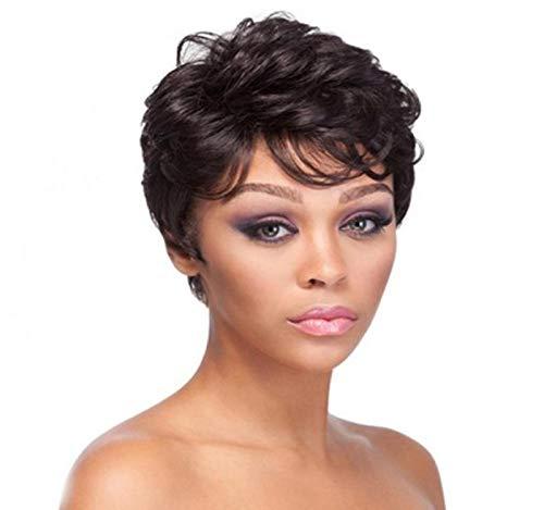 GreatFun 4 Zoll Frauen perücken Coole Schwarze Kurze Lockige Natürliche Haarperücken Weibliche für Frauen Cosplay Party Täglichen ()