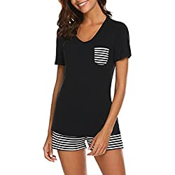 QinMM Pijama de Rayas para Mujer 2 Piezas, Ropa de Dormir Camiseta + Shorts (XL, Negro)