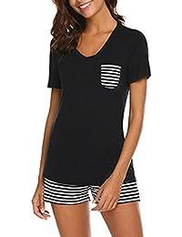QinMM Pijama de Rayas para Mujer 2 Piezas, Ropa de Dormir Camiseta + Shorts