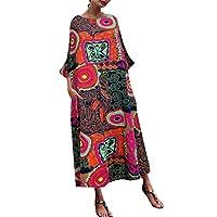 TINGZI فستان طويل فضفاض من القطن والكتان بطباعة بطباعة الأدبية الوطنية للرياح ورقبة دائرية مقاس كبير صيفي كاجوال بطول الكاحل مع جيب -  XXXXXL احمر