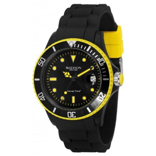 Madison New York Candy Time Blackline Neon U4485-41 - Reloj analógico de cuarzo unisex, correa de silicona color negro