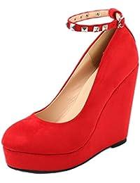 AgeeMi Shoes Mujers Cuña Tacon Alto Suede De salón Con hebilla and Remache