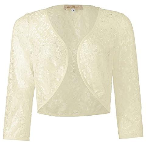 Damen Elegant Spitze Bolero Jacke Vorne Offen Shrug Schulterjacke Strickjacke Champagner L KK430-3