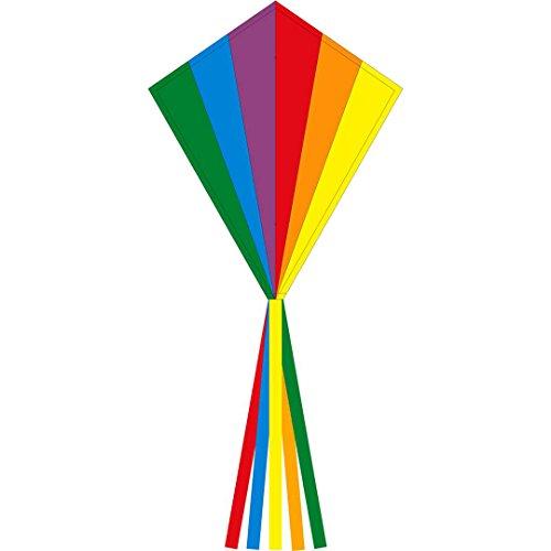 Ecoline 102115 - Eddy Rainbow 70cm Kinderdrachen Einleiner, ab 5 Jahren, 70x58cm und 2.5m Drachenschwanz, inkl. 17kp Polyesterschnur 25m auf Griff, 2-5 Beaufort