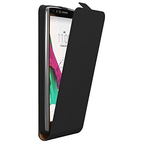 LG K4 Hülle, EAZY CASE Premium Flip Case Handyhülle - Schutzhülle zum Aufklappen in Schwarz Schwarz (Flip)