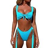 IZHH Damen Bandage Bikini Set Push Up Brasilianischer Print Bademode Beachwear Badeanzug Sling Deep V Strandmode Bikini Set Bandeau Solarium Anzug(Blau,Medium)