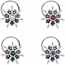 Shine Jewel 925 silver round multi cubic zirconia indian retro style nose pin