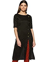 Indi lite Women Black Solid with Gold Woven Motifs Cotton Three-Quarter Sleeves Front Slit Kurta with Gold Show Buttons