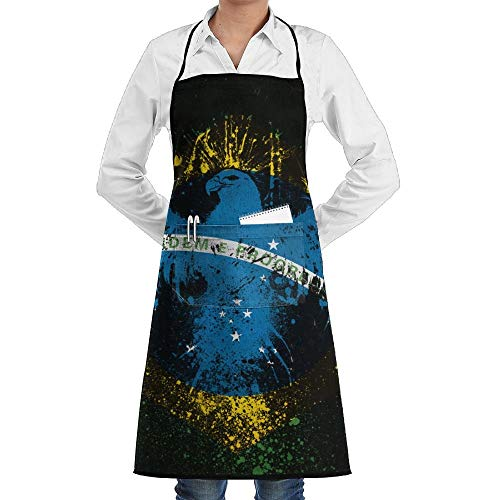 dfgjfgjdfj Brazil Flag Bird Schürze Lace Adult Mens Womens Chef Adjustable Polyester Long Full Black Cooking Kitchen Schürzes Bib with Pockets for Restaurant Baking Crafting Gardening BBQ Grill