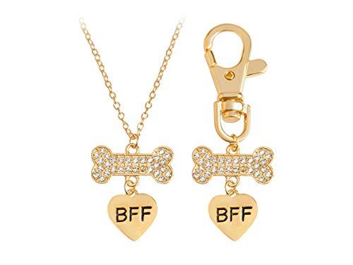 Geldbörse Charme 1 Satz Diamant Hundeknochen Liebe Halskette Anhänger Keychain für Autoschlüssel Handtasche Tasche Schlüsselanhänger Geschenk (Gold) Schlüsselanhänger Trinket (Gold-diamant-charme-halskette)