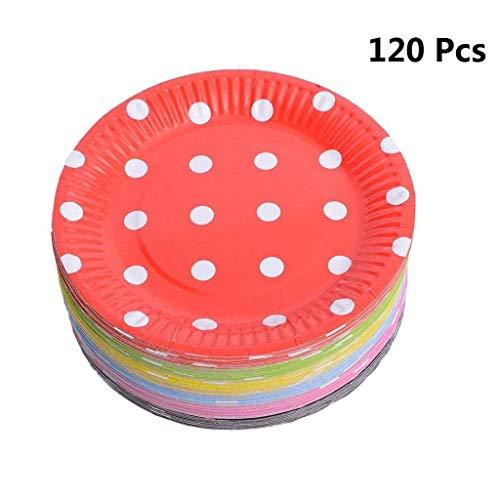 nweg Servierplatten 18 cm Einweg Pappteller für Geburtstag, Party, Hochzeit von, Punkt, 7*18 ()
