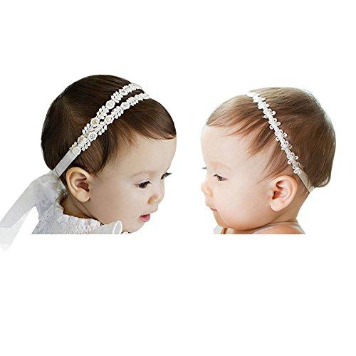 Jolieer 2 Stück Süßes Baby beautful flower headband Mädchen Kinder Prinzessin Stretch Stirnbänder Babygeschenke Taufe Geschenksets