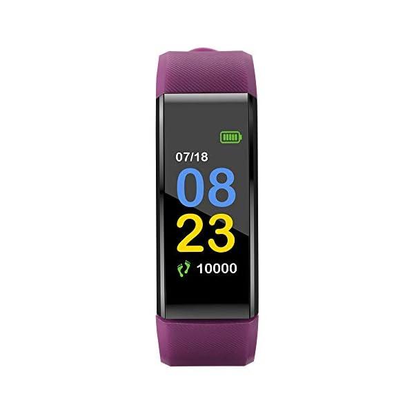 115plus Fitness Tracker Pulsera inteligente Pantalla a color Bluetooth Reloj deportivo Monitor de frecuencia cardíaca / presión arterial Podómetro Paso Contador de calorías Púrpura AC1423. Accesorios 4
