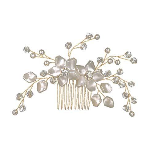 Peigne Mariage Cheveux - OSYARD Bandeau Mariée Mariée Cristal Strass Fleur Délicate Femmes Faux Perles