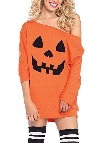 For G and PL Womens Halloween Costumes 3/4 Sleeve Cold Shoulder Sweatshirt Dress