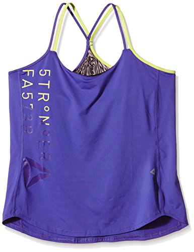 Reebok Damen Tank Delta Printed Long Bra Top Ultima Purple/Portrait Purple