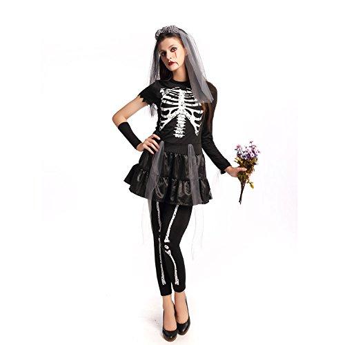 TYERY Die Braut Trug Schwarz Zombie - Kostüm Skelett (Zombie Kostüm Fußball)