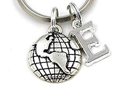 Silver Knight Globe Schlüsselanhänger, personalisierbarer Erde, Weltkarte Schlüsselanhänger, Geschenkbeutel