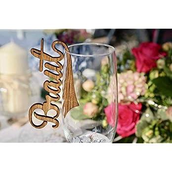 5 edle lasierte Tischkarten Platzkarten Namensschilder Hochzeit