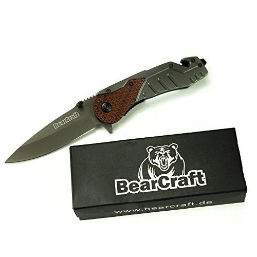 BearCraft Klappmesser | Outdoor Survival Taschenmesser mit Holzeinsatz Abbildung 2