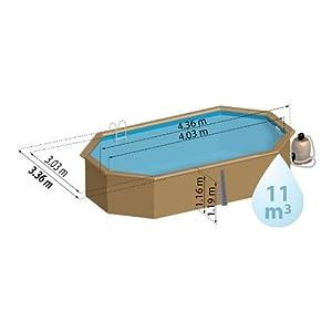 KIT Piscina legno ovale sistema omega GRENADE. Liner blu 60/100. Filtro a sabbia da 4m³/h. Scala in legno esterna/scala inox interna, skimmer e tappeto. Dim: Ø Est 436x336 h 119 - Ø Int 403x303 h 116