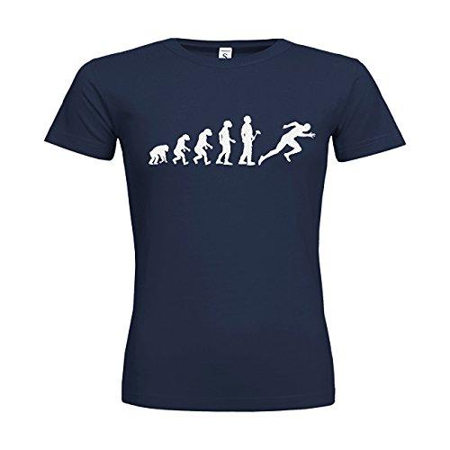 MDMA Frauen T-Shirt Classic Evolutionstheorie Leichtathletik Sprint N14-mdma-ftc00379-166 Textil navy / Motiv glitterweiss / Gr. L