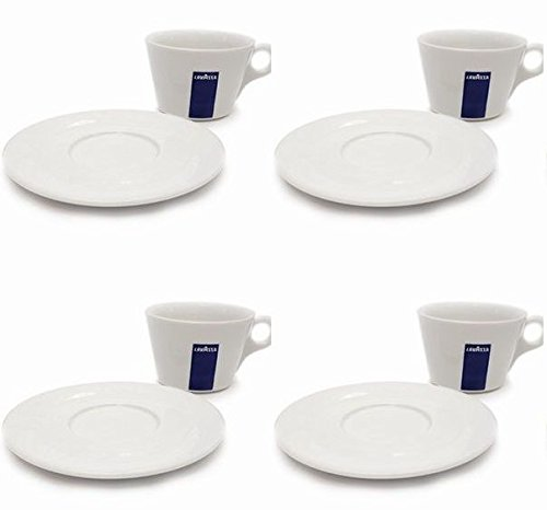 4 X Lavazza Cappuccino/Coffee/Americano/ Porcelain Cups and Saucers-Capacity cc 250, height mm 68 Test