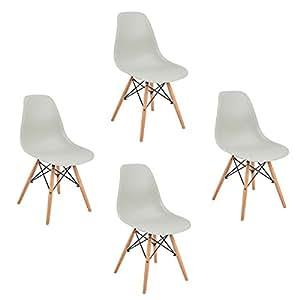 Set di 4 sedie da pranzo ,Eggree Modello sedie con gambe in faggio massiccio, per sala da pranzo cucina,Grigio