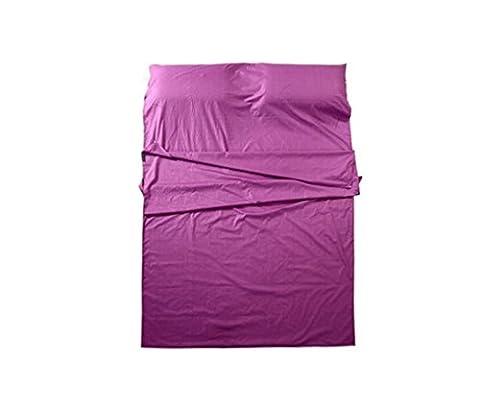 Nola Sang Double sac de couchage doublure ultra-léger intérieur drap de voyage en coton portable pur sac de couchage en plein air Camping randonnée , purple