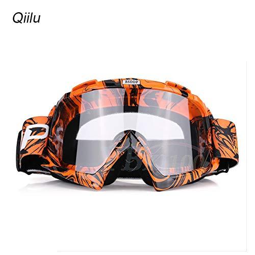 Qiilu Motorrad Motocross Off Road Dirt Bike Racing Goggles Brille Augen Schutz (Orangen Weiß)