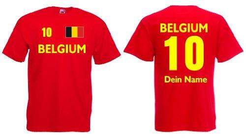 Belgium T-Shirt mit Wunschname und Wunschnummer Belgien Trikot|r-m