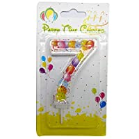 Party Time Unscented 7 Number Birthday Candle Balloon Design - 1 Piece, Multi Color